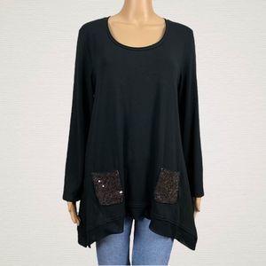 LOGO Lori Goldstein Sequined Pocket Tunic Shirt